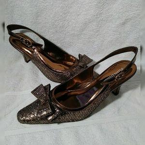 "Pierre Dumas ""Renetti"" gold/brown heels sz 8"